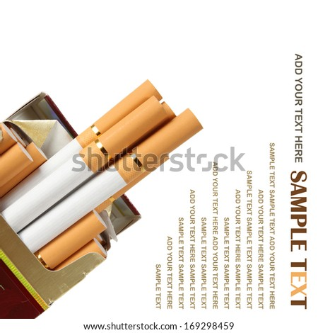 close up of a box of cigarettes on white background with clipping path  - stock photo