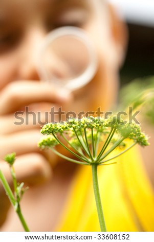 Close-up of a boy examining plants through a magnifier - stock photo