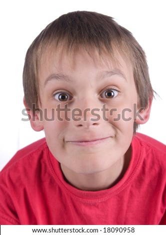 close up of a boy with big eyes isolated on white background