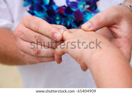 Close-up of a bride and groom exchanging wedding rings.