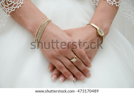Close up of a bride's hands