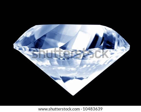 Close-up of a brilliant blue diamond (isolated on pure black background) - stock photo