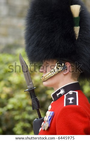 Close up of a British guard (England) - stock photo