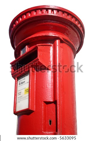 Close up of a British red post box on a white background. - stock photo