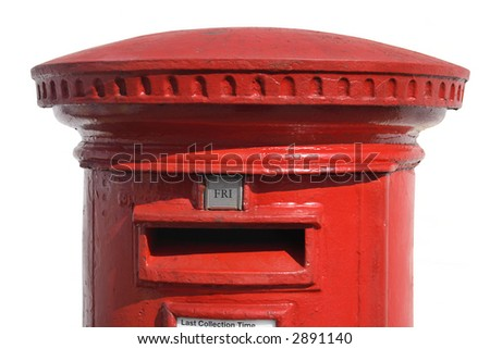 Close up of a British red post box, with a white background. - stock photo