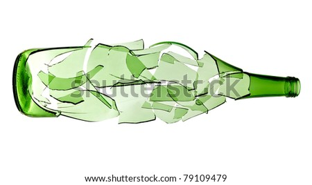 close up of  a broken green bottle on white background with clipping path - stock photo