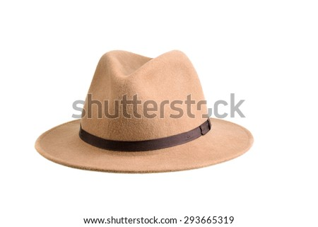Close up of a brown felt  hat isolated on white