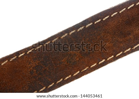 Close up of a brown leather belt isolated on white - stock photo