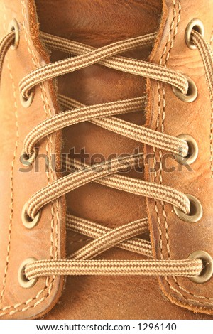 close up of a brown leather boot and laces - stock photo