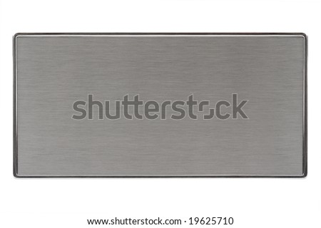 Close-up of a brushed metal name plate, isolated on white. - stock photo