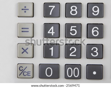 Close up of a business calculator keypad