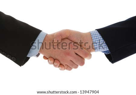 Close-up of a business handshake isolated on a white background. Conceptual image - stock photo