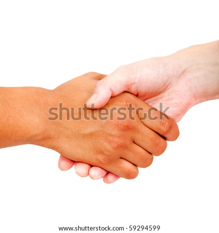 Close up of a business handshake isolated over a white background