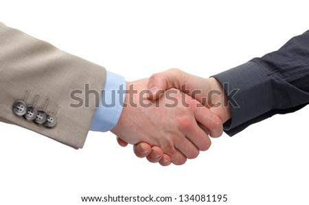 Close up of a business handshake on isolated background - stock photo