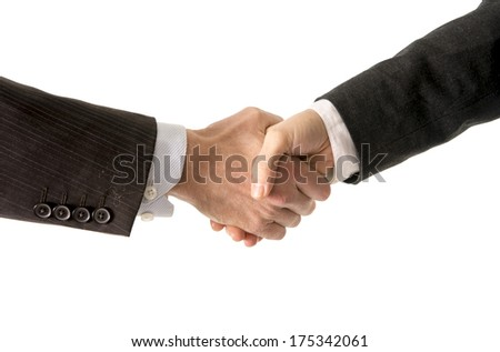 close up of a business man shaking hands with a business woman on a white background