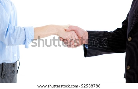 Close-up of a business people closing a deal against a white background