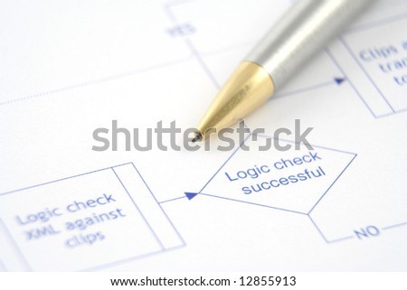 Close up of a business process flow report - stock photo