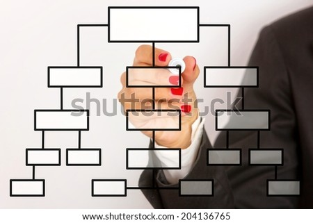 Close up of a business woman drawing company`s strategy on the board. - stock photo