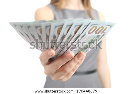 Close up of a business woman hand holding banknotes isolated on a white background - stock photo