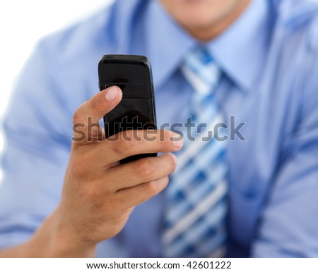 Close-up of a businessman sending a text isolated on a white background - stock photo