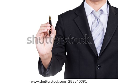 close up of a businessman writing drawing on the screen with clipping path isolated on white background - stock photo