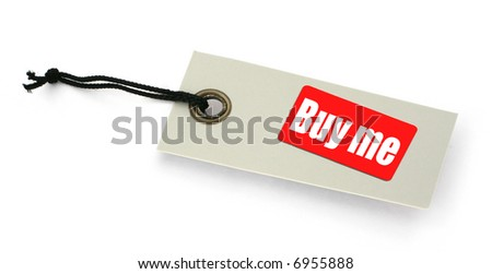 close-up of a BUY ME tag against white, gentle shadow in front, no copyright infringement - stock photo