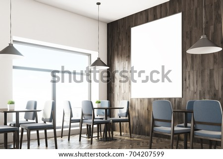 close up of a cafe interior with white and wooden walls gray chairs dark - Large Cafe Interior
