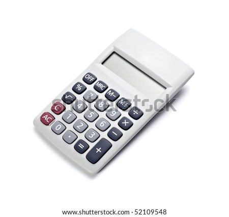 close up of a calculator on white background with clipping path - stock photo