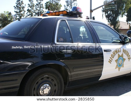 Close-up of a California Highway Patrol Car - stock photo