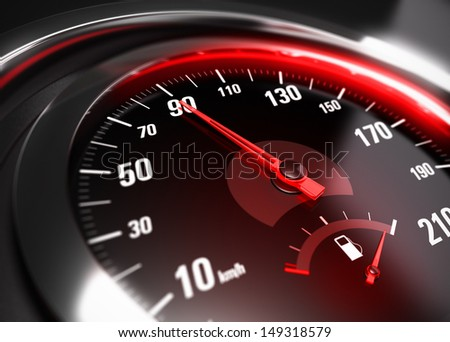 Close up of a car speedometer with the needle pointing 90 Km h, blur effect, conceptual image for safe driving concept - stock photo