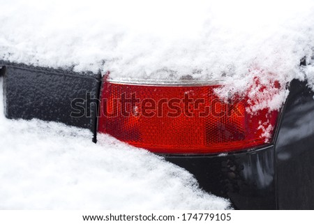 Close up of a car under the deep snow - stock photo