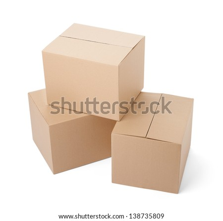 close up of a cardboard box on white background