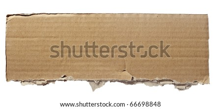 close up of  a cardboard piece  on white background - stock photo