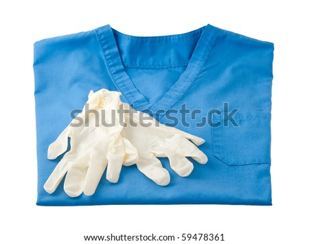 Close up of a care aid's blue uniform top isolated on white. - stock photo