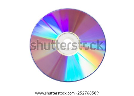 Close up of a cd or dvd, isolated on white background - stock photo