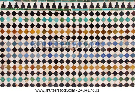 Close up of a ceramic tile in Reales Alcazares in Seville. Andalucia, Spain - stock photo