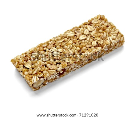 close up of a cereal bar on white background with clipping path - stock photo