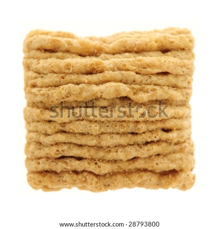 Close-up of a cereal square, isolated on white - stock photo