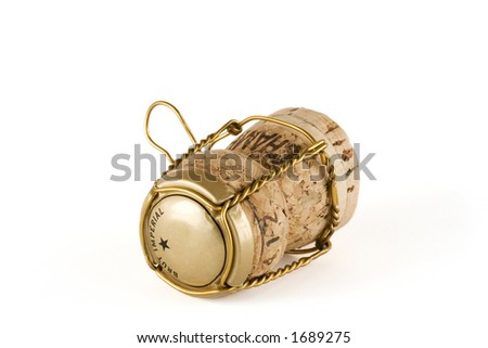 Close-up of a champagne cork isolated over a white background