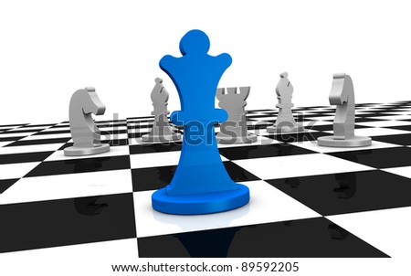 close up of a chess board with one piece on front and some of different color on background (3d render) - stock photo