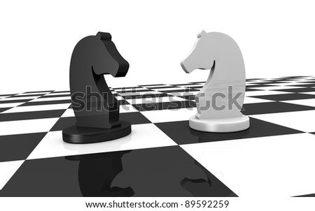close up of a chess board with two pieces of different colors (3d render) - stock photo