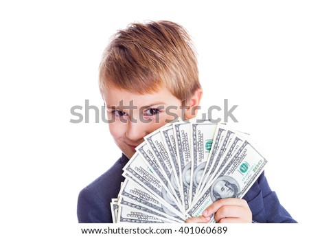 Close up of a child holding fanned out one hundred dollar bills - stock photo