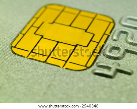 Close-up of a chip on a credit card. Shallow DOF. - stock photo