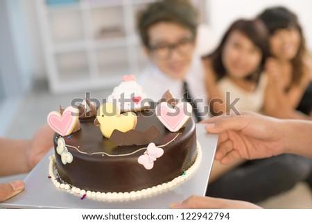 Closeup Chocolate Birthday Cake Cute Decoration Stock Photo