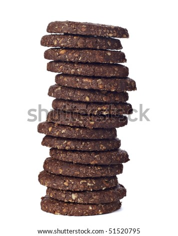 close up of a chocolate biscuit on white background