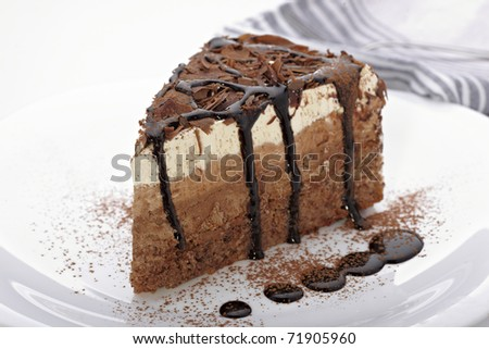 close up of a chocolate cream cake on white plate - stock photo