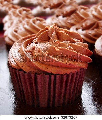 Close up of a chocolate cup cake - stock photo