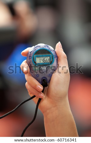 Close-up of a chronometer in a fitness center - stock photo