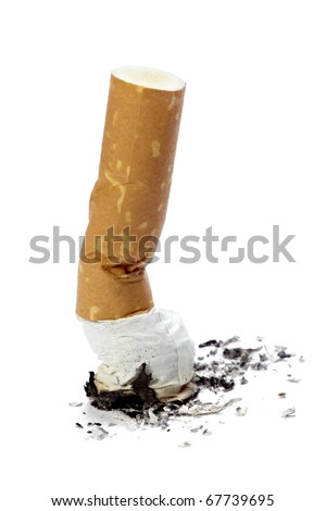 close up of a cigarette butt on white background with clipping path - stock photo