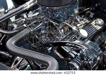 Close-up of a classic car engine